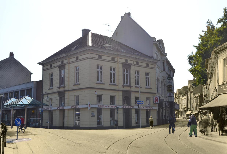 Hirsch Apotheke Rheydt, damals und heute, Photomontage