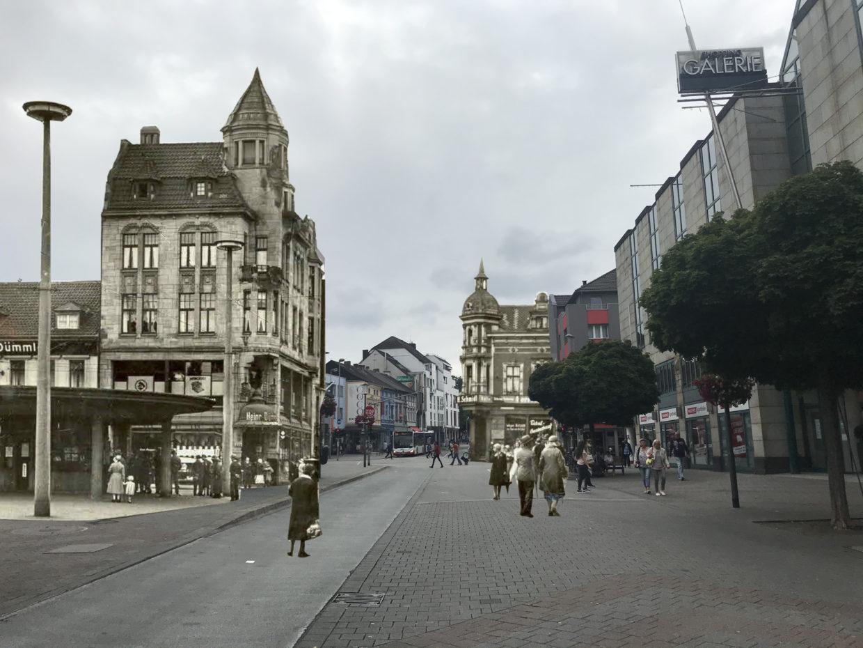 Marienplatz, damals und heute, Photomontage